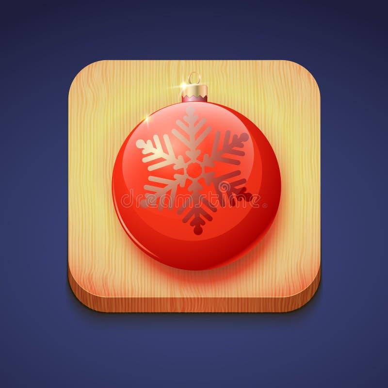 Красный шарик рождества на деревянной стойке. IOS значка иллюстрация вектора