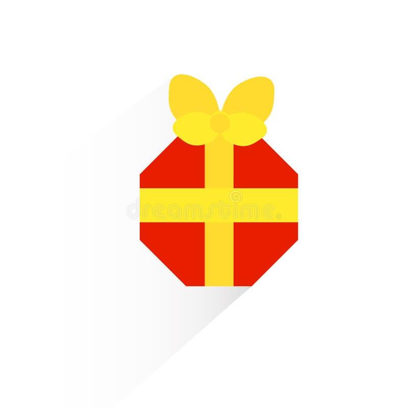 Красный шестиугольный значок подарка иллюстрация штока