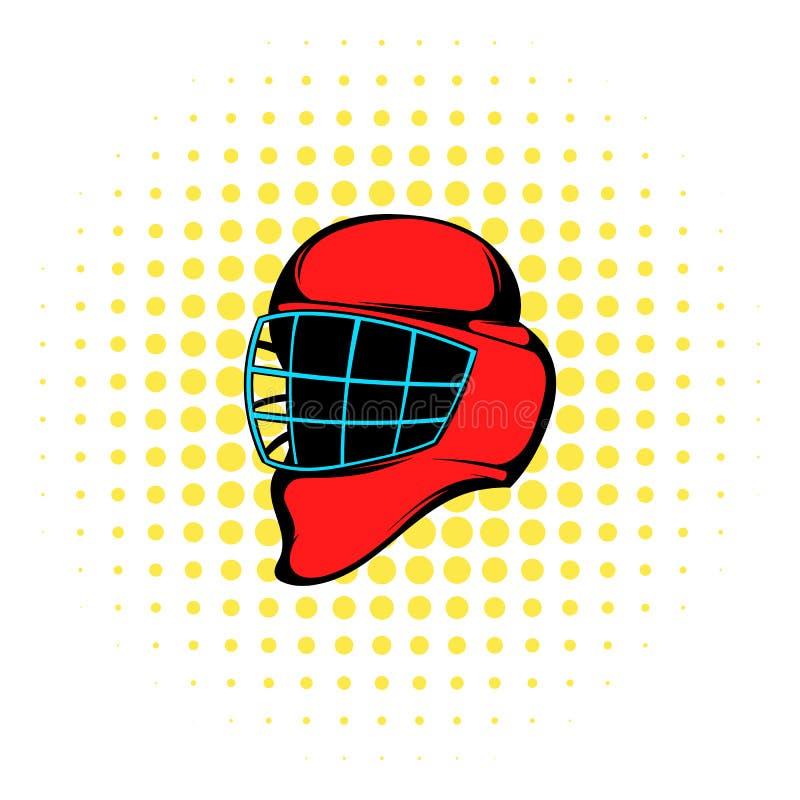 Красный шлем хоккея с значком клетки, стилем комиксов иллюстрация штока