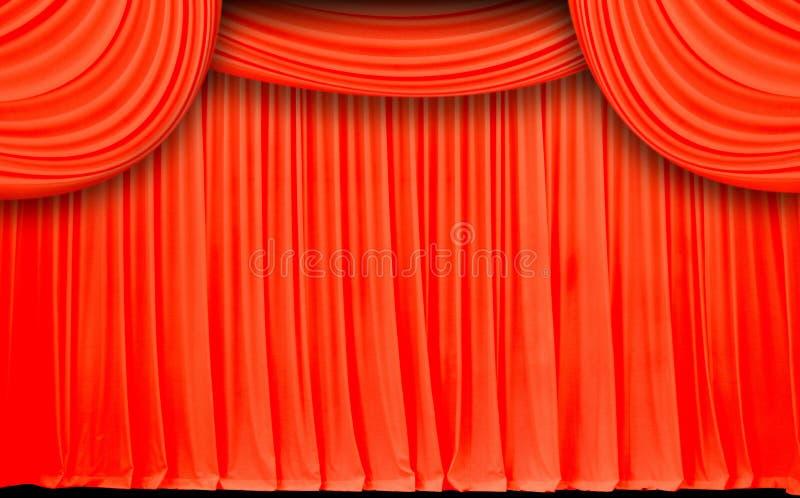 Красный экран занавеса задрапировывает ткань волны и бархата стоковые изображения rf