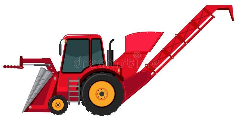 Красный backhoe на белой предпосылке иллюстрация вектора