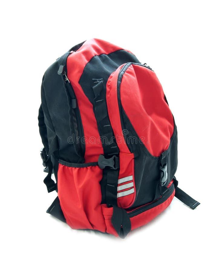 Красный backpack школы стоковые фотографии rf