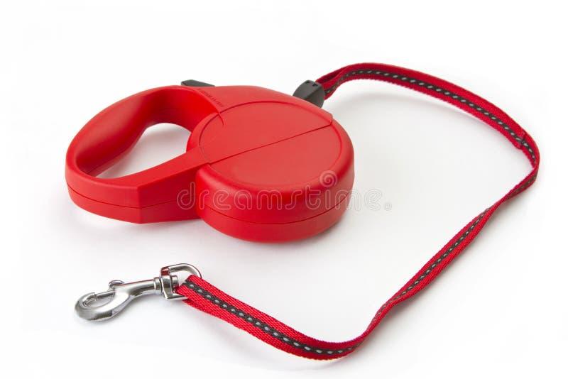 Красный retractable поводок стоковое фото rf