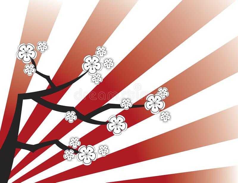 красный sakura stripes белизна иллюстрация вектора