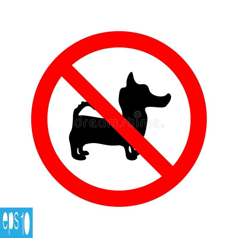 Красным запрещенный кругом знак собаки, значок на белой предпосылке, красной тонкой линии на белой предпосылке - иллюстрации вект бесплатная иллюстрация