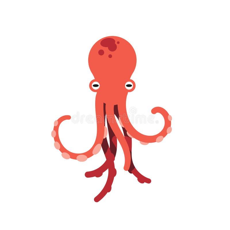 Красным иллюстрация изолированная осьминогом на белой предпосылке Милая иллюстрация осьминога Морская флора и фауна и концепция ж иллюстрация вектора