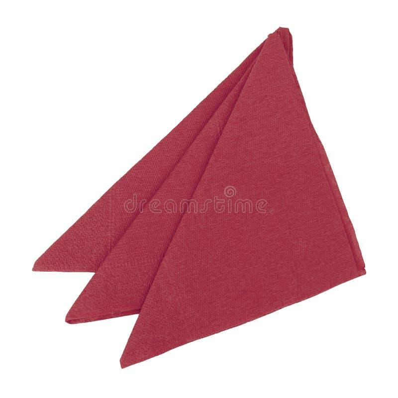 3 красных бумажных салфетки, serviettes сложенные к треугольникам и изолированные на белой предпосылке стоковое изображение