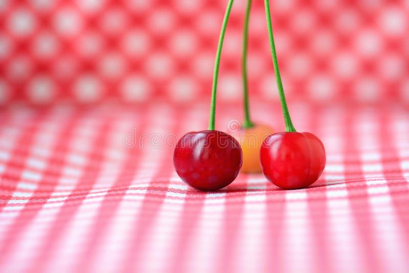 3 красных вишни стоковые изображения