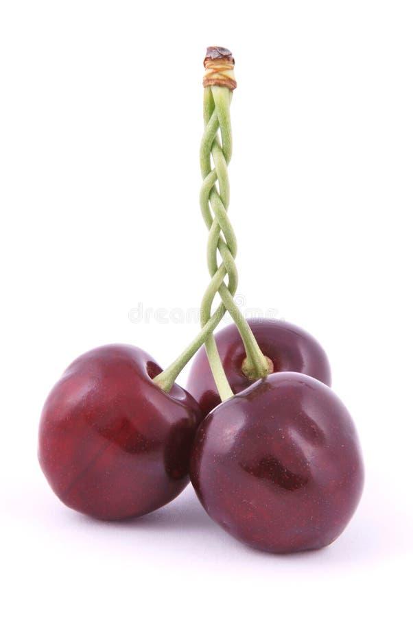 3 красных вишни стоковое фото