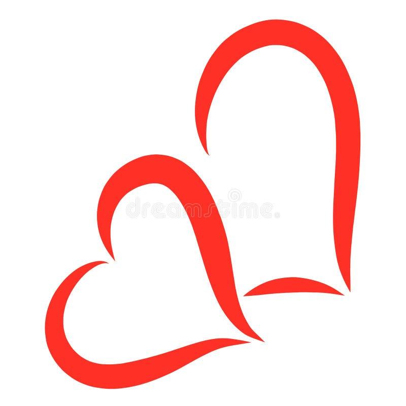 2 красных сердца совместно, рисующ путем плавая линии иллюстрация вектора
