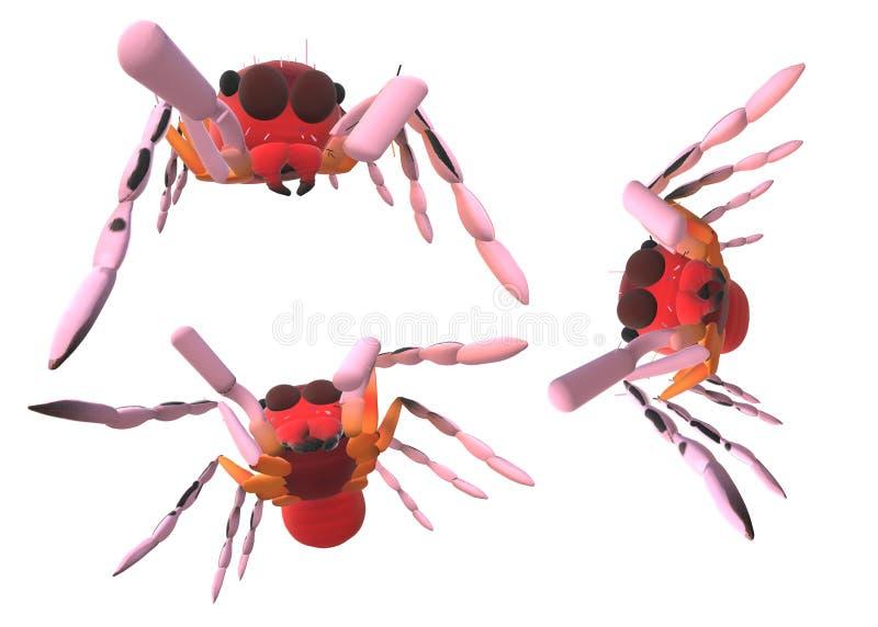 3 красных скача паука на белой предпосылке бесплатная иллюстрация