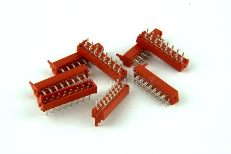 8 красных соединителей PCB стоковое изображение