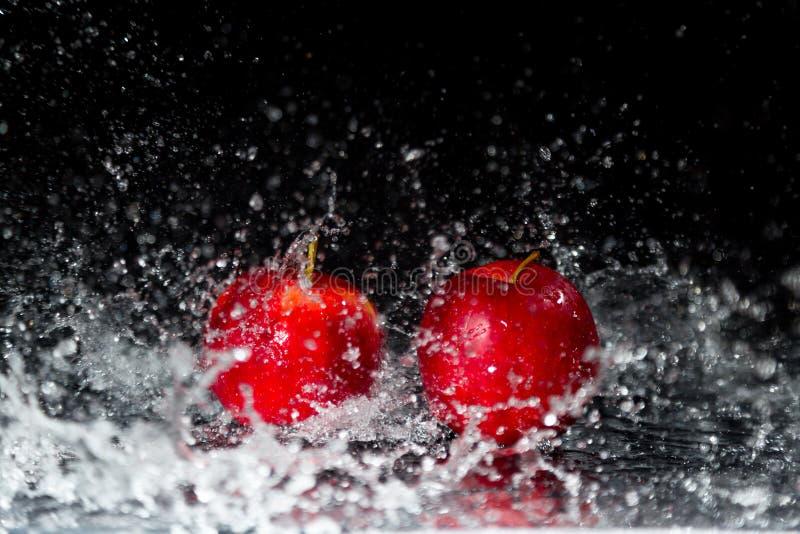 2 красных яблока в выплеске воды стоковое изображение rf