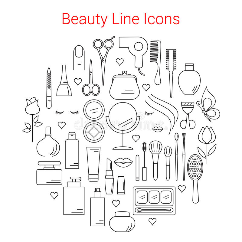Красота, косметика и состав Vector линия значки иллюстрация штока