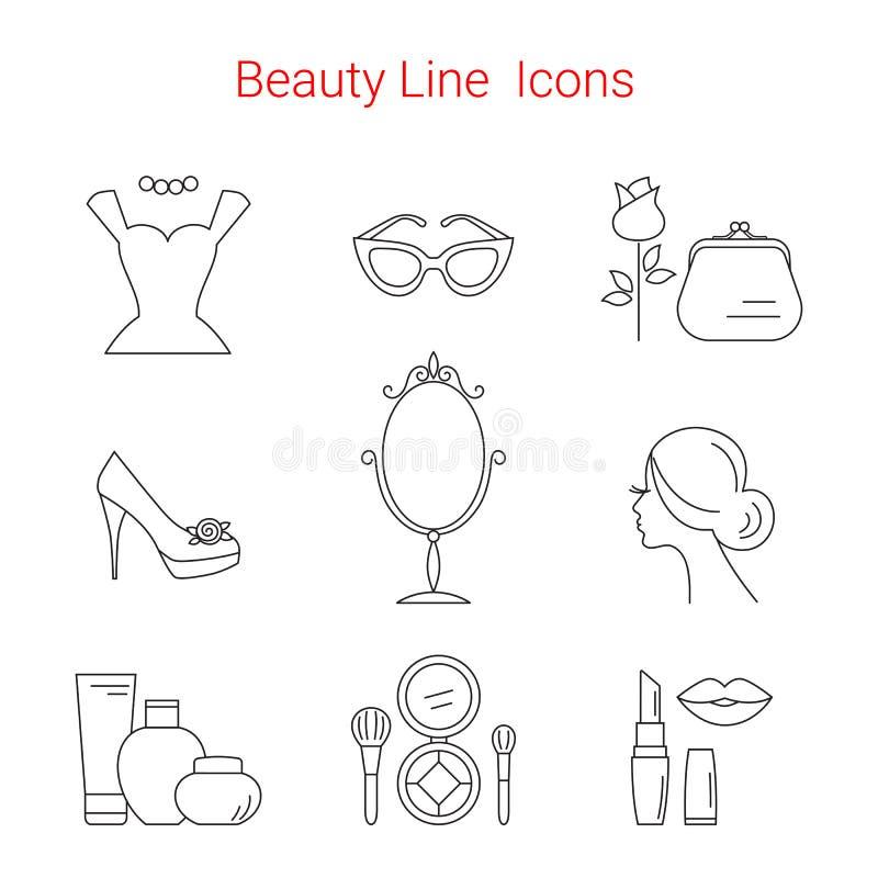 Красота, косметика и состав Vector линия значки иллюстрация вектора