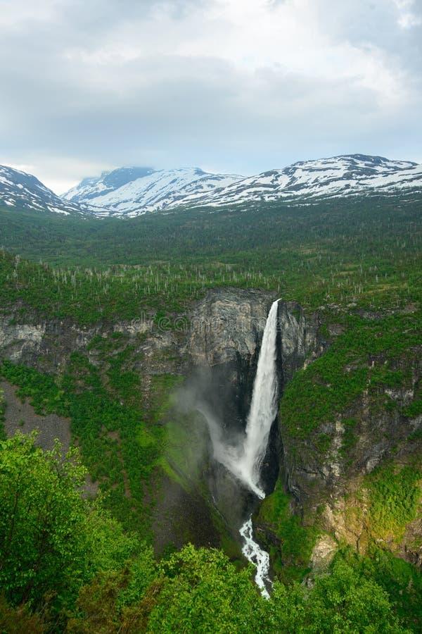 Красота норвежского †Vettisfossen водопада «природы Норвегии стоковые фото