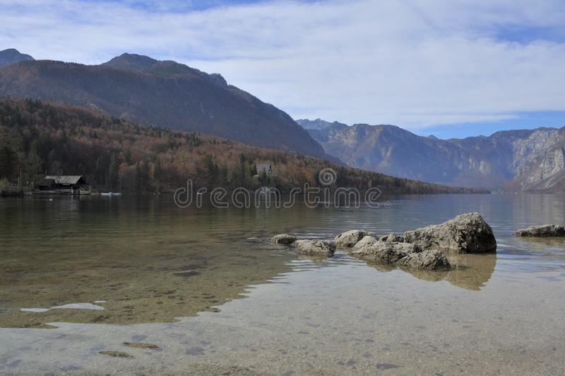 Красота озера Bohinj в Словении стоковое фото