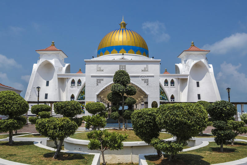 Красота проливов мечети Малаккы, Melaka, Малайзии стоковое изображение