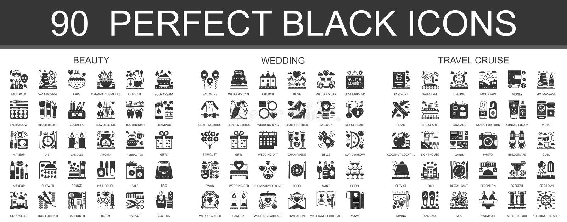 90 красота, свадьба, символы концепции круиза перемещения классические черные мини Установленные иллюстрации пиктограммы значка в бесплатная иллюстрация