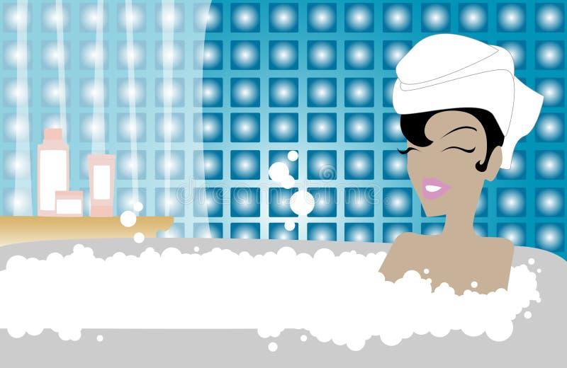 красотка ванны иллюстрация штока