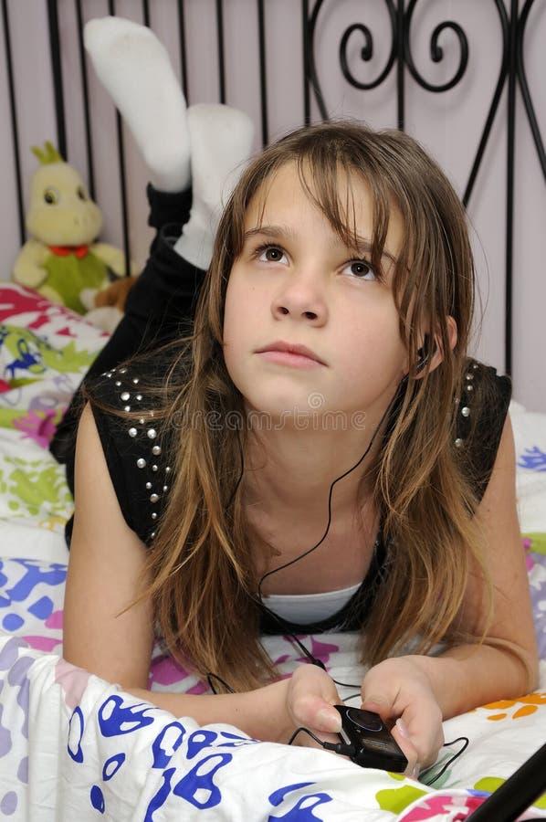 красотка мечтая подросток Mp3 Стоковое фото RF