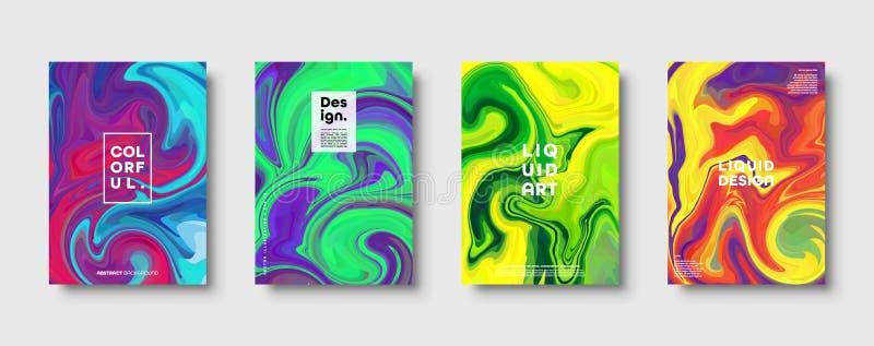 Красочная абстрактная геометрическая предпосылка Жидкостные динамические волны градиента Жидкая мраморная текстура Современный на иллюстрация штока