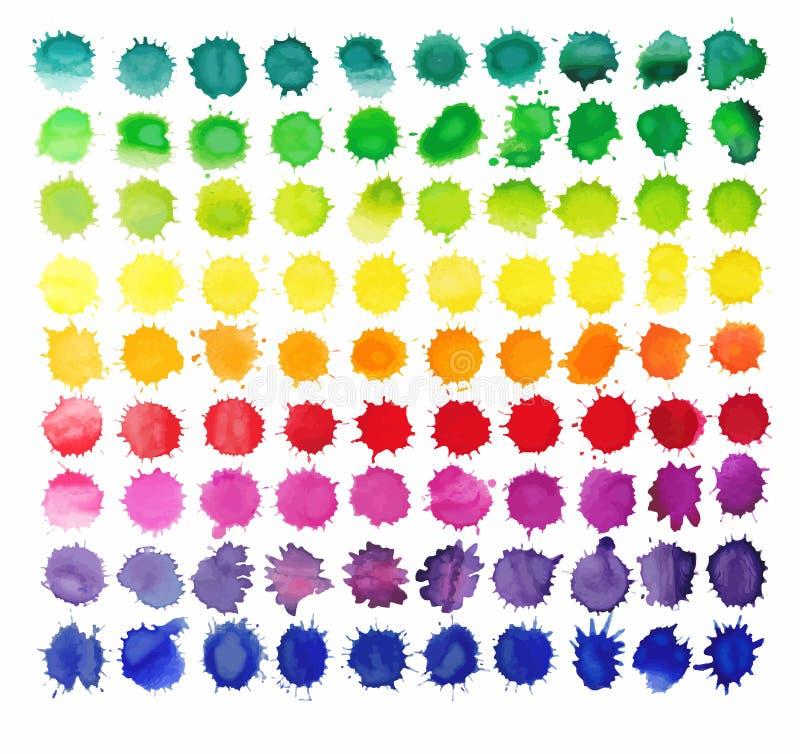 красочная акварель 90 брызгает изолированный на белой предпосылке бесплатная иллюстрация