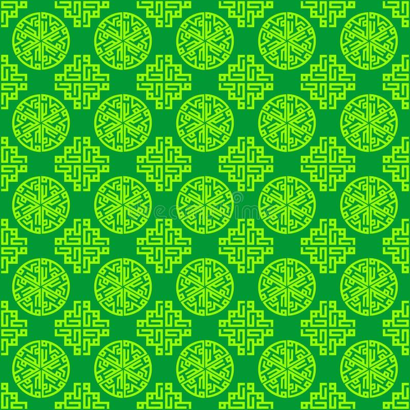 Красочная арабская, исламская, восточная, орнаментальная зеленая безшовная повторяющийся предпосылка текстуры картины вектор граф бесплатная иллюстрация