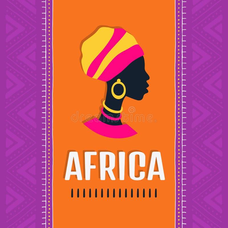 Красочная африканская карта стиля с силуэтом женщины конструкция соплеменная иллюстрация вектора