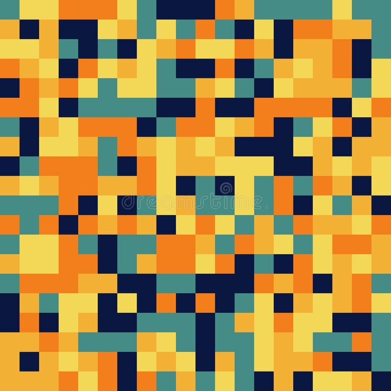 Красочная безшовная картина в стиле пиксела 8bit в сплошных цветах иллюстрация вектора