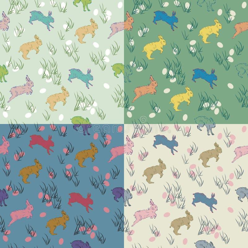 Красочная безшовная картина пасхи пастельная установила с кроликами, яичками иллюстрация штока