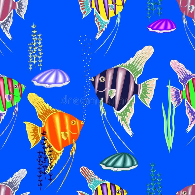 Красочная безшовная картина, состоя из много морских рыб иллюстрация вектора