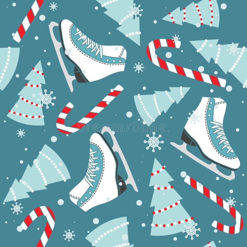Красочная безшовная картина с диаграммой коньками, елями, тросточками конфеты, снегом Декоративная милая предпосылка E иллюстрация вектора