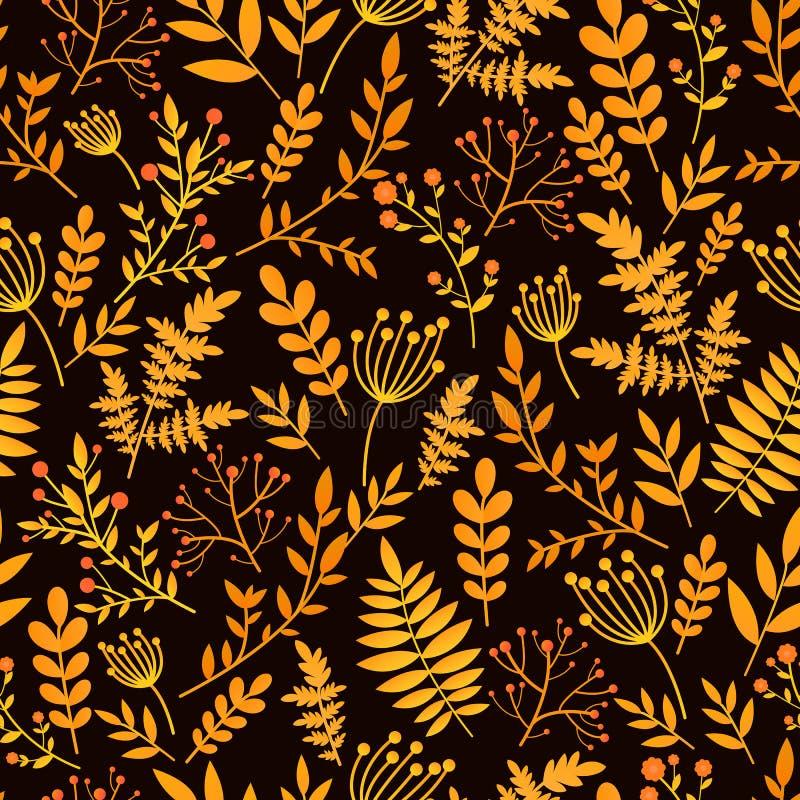 Красочная безшовная картина с золотом, красными листьями и заводами Орнамент яркого флористического вектора декоративный Текстура бесплатная иллюстрация