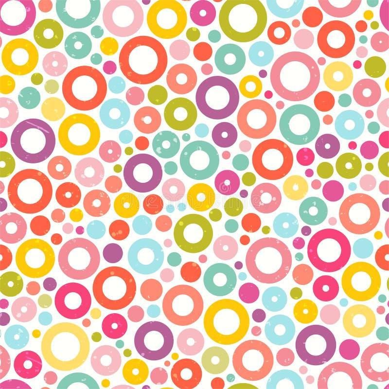 Красочная безшовная картина с кругами Печать ткани абстрактная предпосылка милая иллюстрация вектора