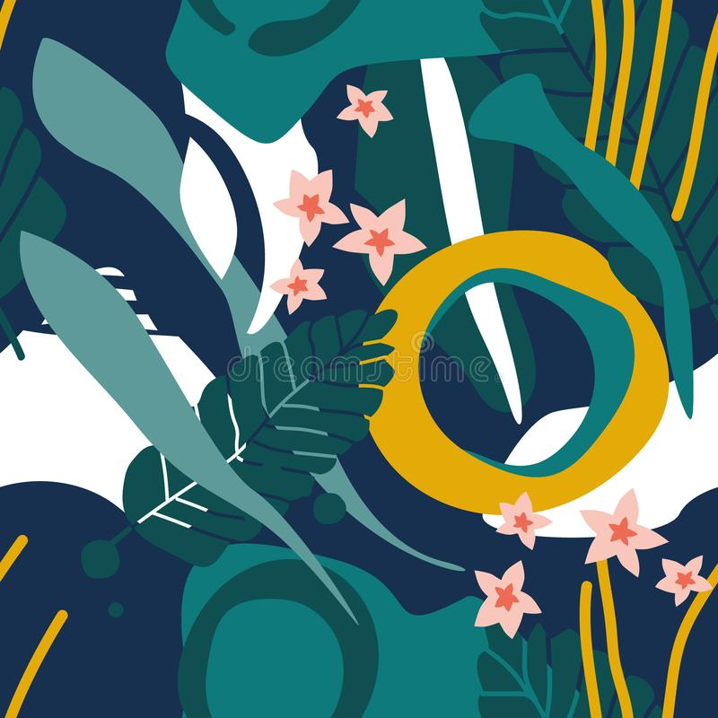 Красочная безшовная картина с листьями, цветками бесплатная иллюстрация