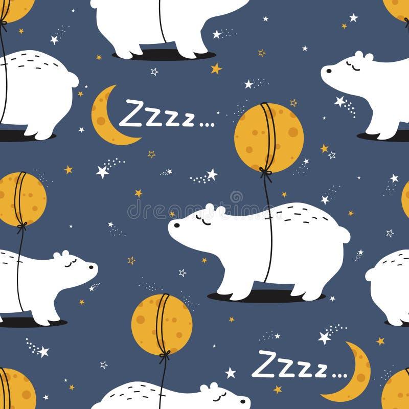 Красочная безшовная картина с медведями, луна, звезды Декоративная милая предпосылка с животными бесплатная иллюстрация