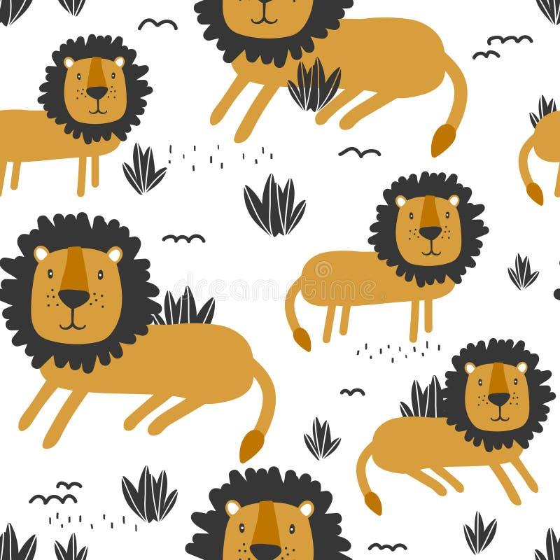 Красочная безшовная картина с милыми львами предпосылка животных иллюстрация вектора