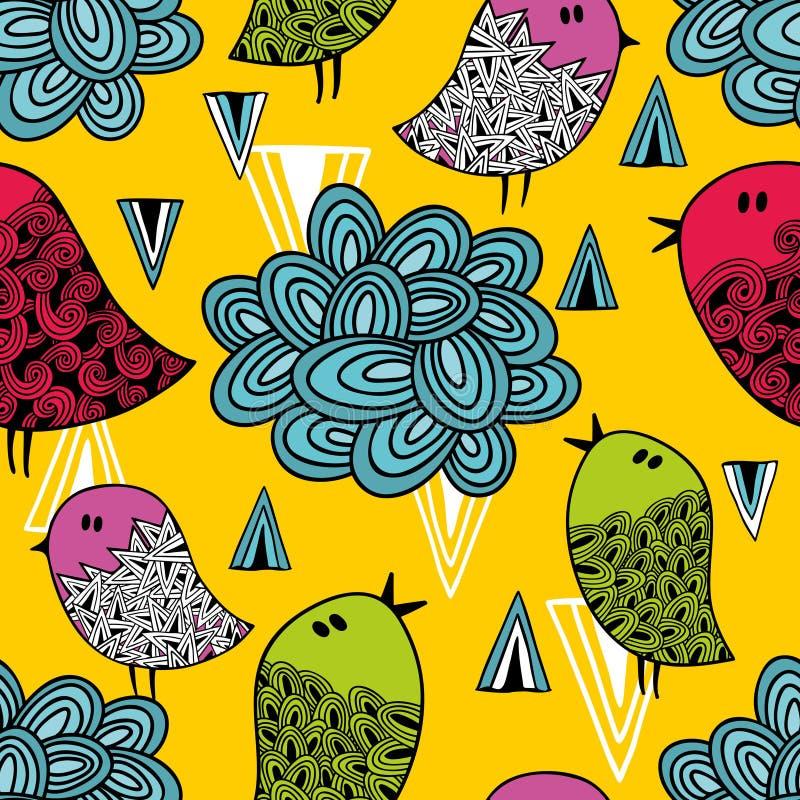 Красочная безшовная картина с милыми птицами и облаками бесплатная иллюстрация