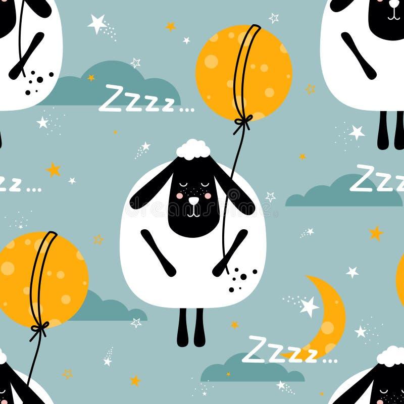 Красочная безшовная картина с овцами, луна, звезды, облака иллюстрация вектора