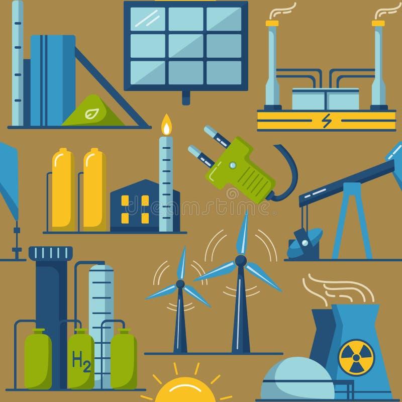Красочная безшовная картина с символами энергии eco иллюстрация вектора