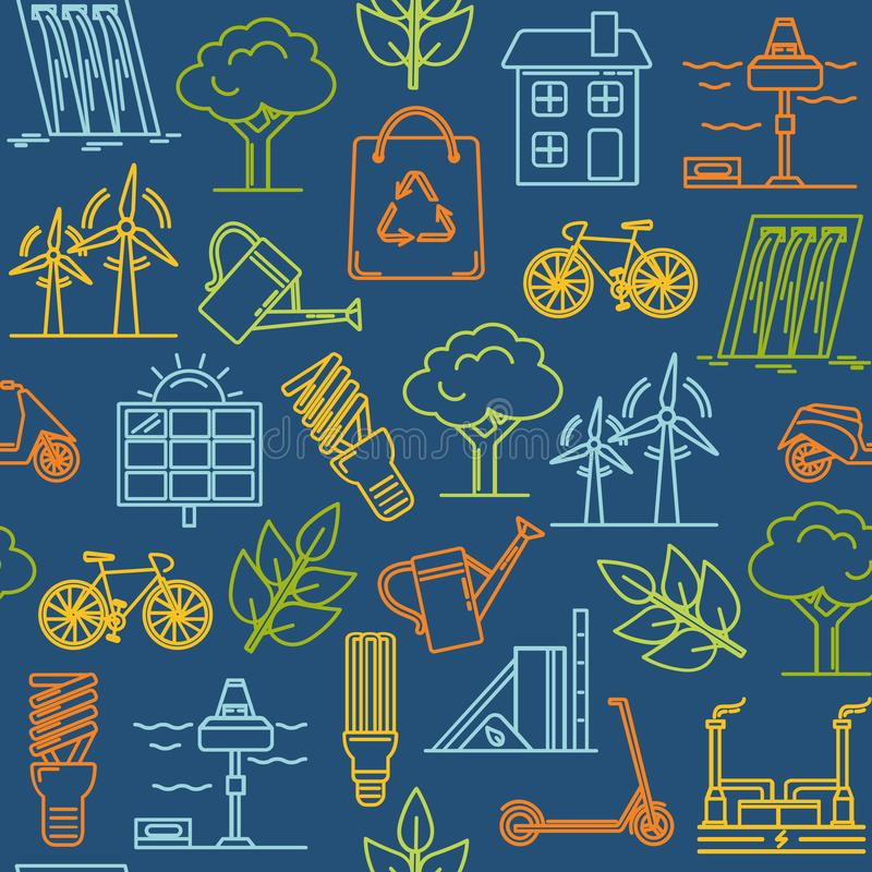 Красочная безшовная картина с символами eco бесплатная иллюстрация