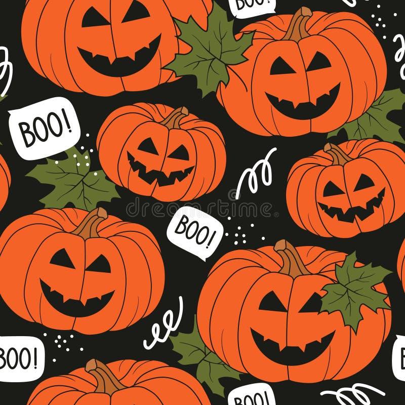 Красочная безшовная картина с тыквами, кленовыми листами Декоративная предпосылка, день хеллоуина иллюстрация вектора