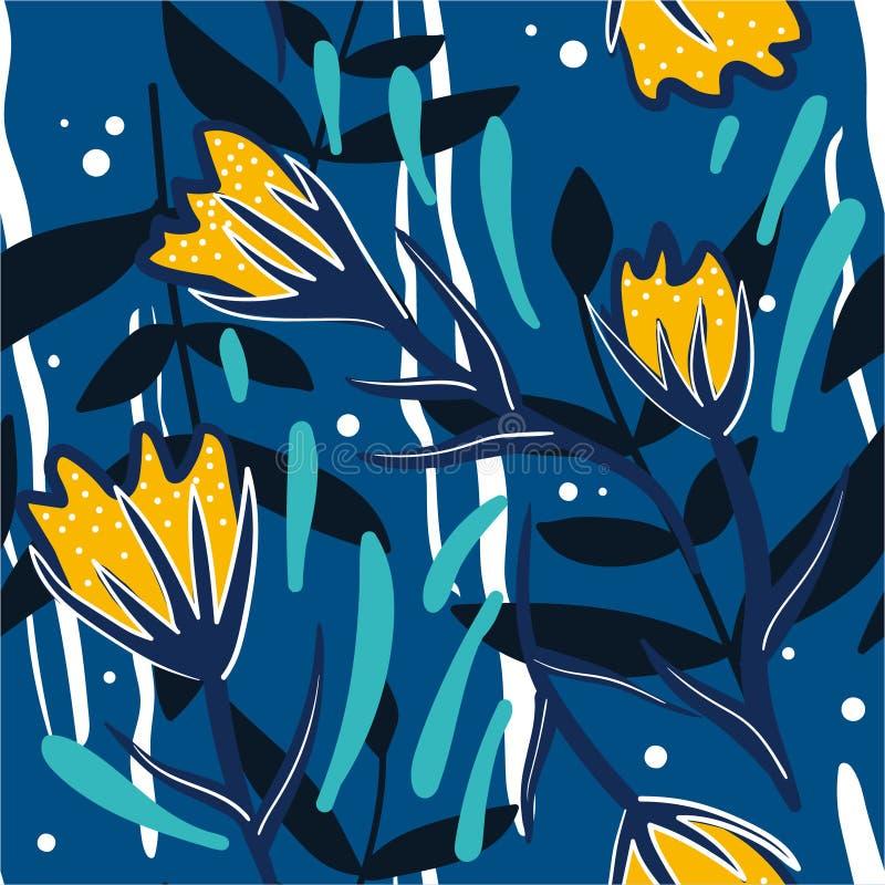 Красочная безшовная картина с цветками, листьями иллюстрация вектора