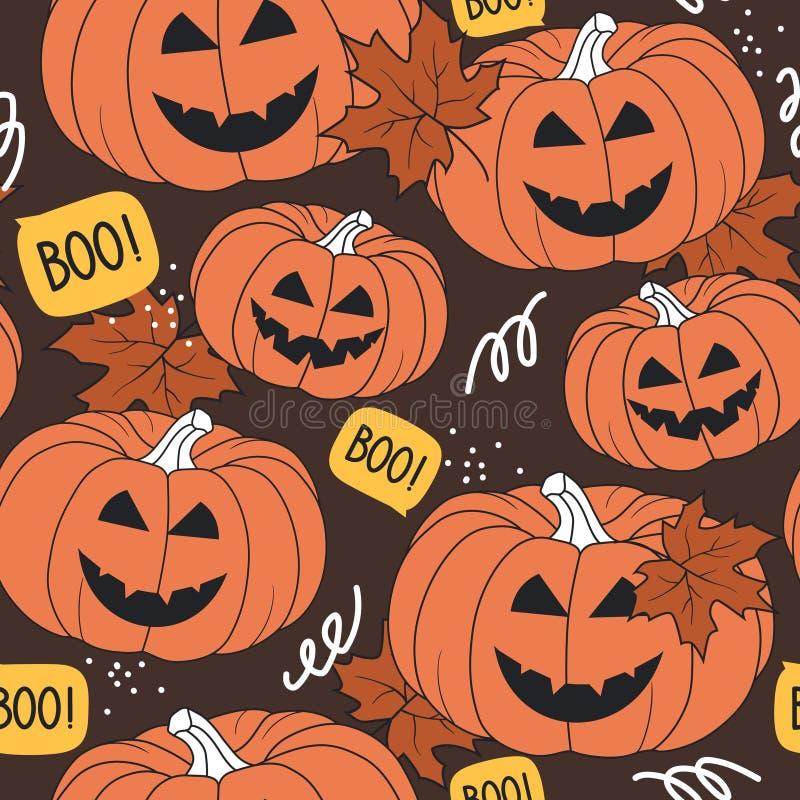Красочная безшовная картина, тыквы на день хеллоуина, кленовые листы Декоративная предпосылка иллюстрация вектора