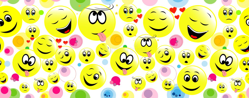 Красочная безшовная предпосылка смешных сторон smiley иллюстрация вектора