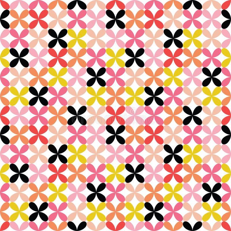 Красочная безшовная ретро геометрическая предпосылка мотивов - розовый красный цвет иллюстрация вектора