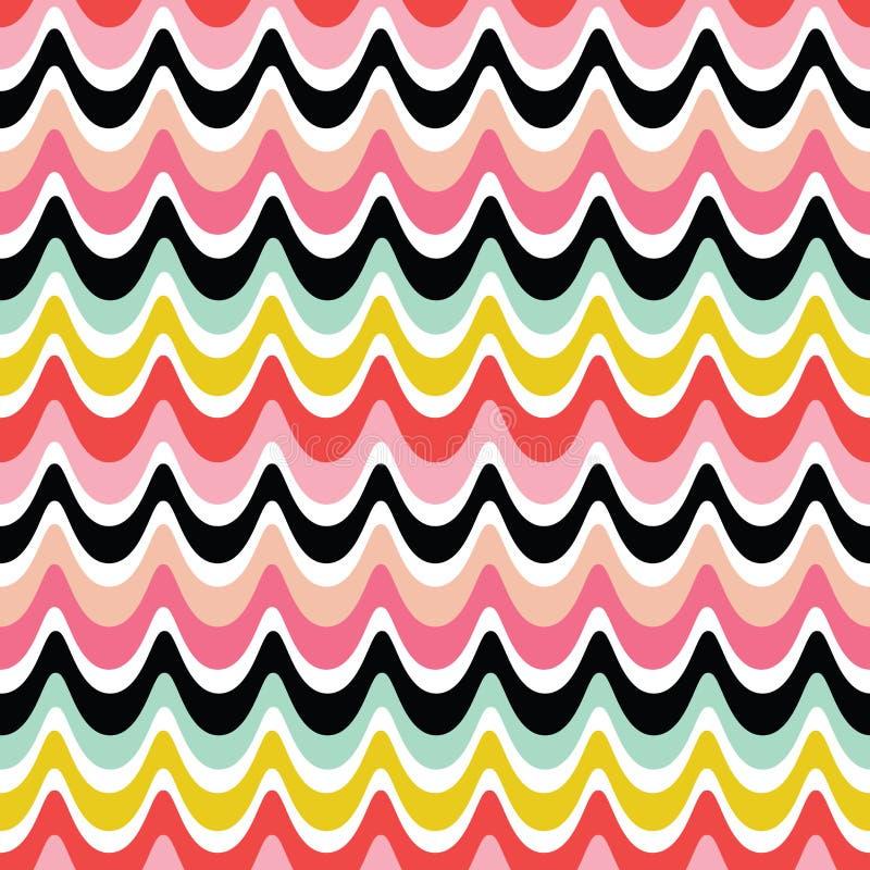 Красочная безшовная ретро предпосылка волн - цвета пинка красные яркие иллюстрация вектора