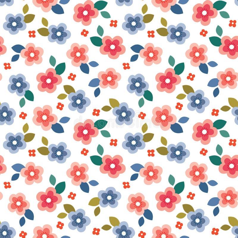 Красочная безшовная флористическая мини печать на белой предпосылке бесплатная иллюстрация
