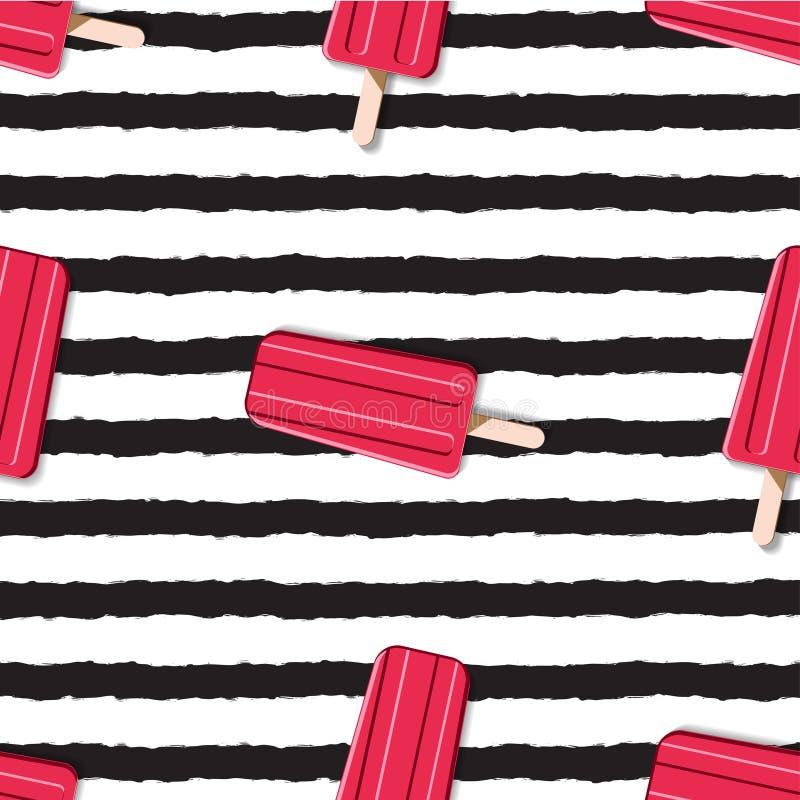 Красочная бесконечная картина мороженого на striped предпосылке внутри иллюстрация штока